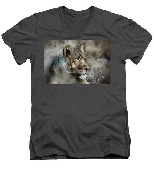 The Lioness  Men's V-Neck T-Shirt