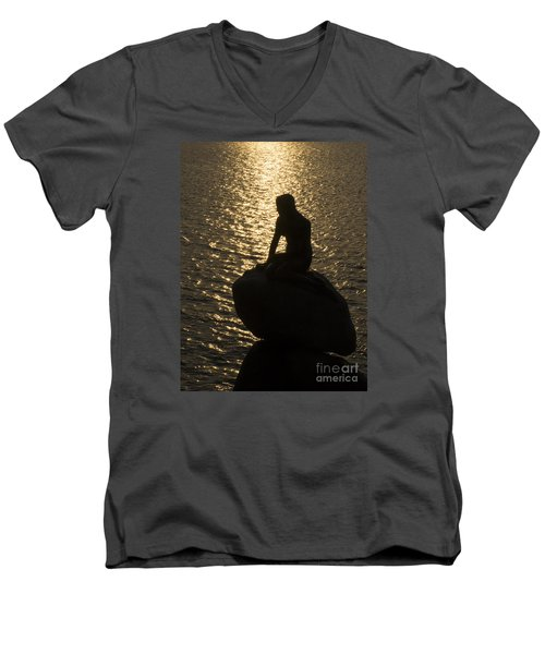 Men's V-Neck T-Shirt featuring the photograph The Little Mermaid by Inge Riis McDonald