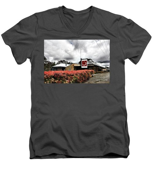 Men's V-Neck T-Shirt featuring the photograph The Little Red Grape Winery   by Douglas Barnard
