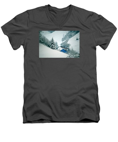 Men's V-Neck T-Shirt featuring the photograph The Little Red Train - Winter In Switzerland  by Susanne Van Hulst