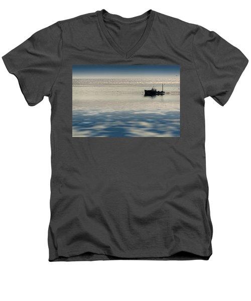 The Lobster Boat Men's V-Neck T-Shirt by Rick Berk