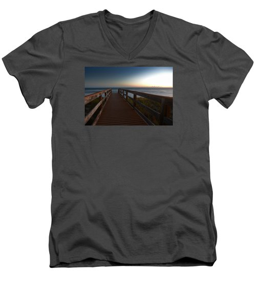 Men's V-Neck T-Shirt featuring the photograph The Long Walk Home by Renee Hardison