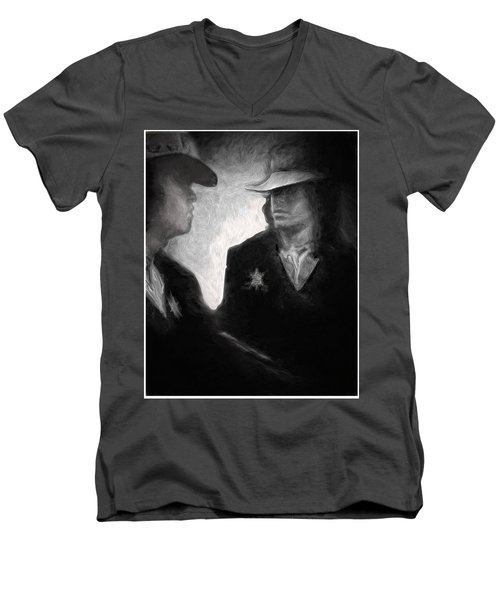 Men's V-Neck T-Shirt featuring the drawing The Looking Glass by Michael Cleere