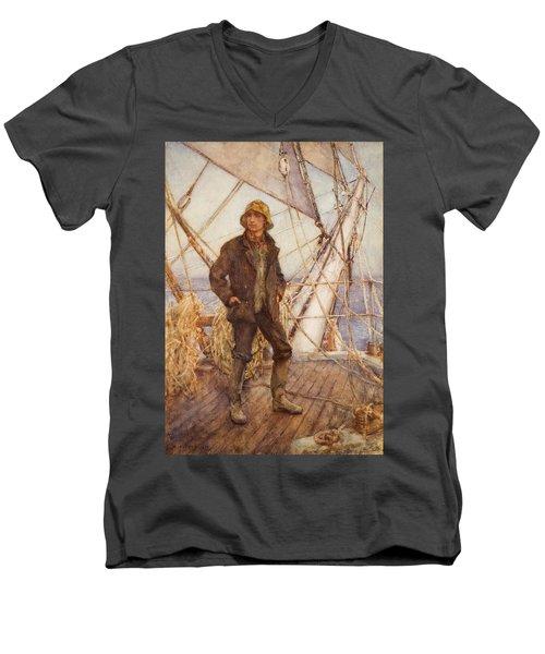 The Lookout Man  Men's V-Neck T-Shirt by Henry Scott Tuke