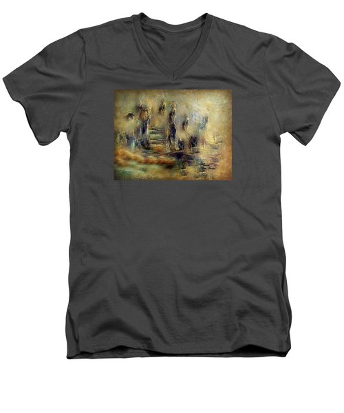 Men's V-Neck T-Shirt featuring the painting The Lost City By Sherriofpalmsprings by Sherri  Of Palm Springs