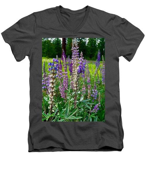 The Lupine Crowd Men's V-Neck T-Shirt by Jennifer Lake