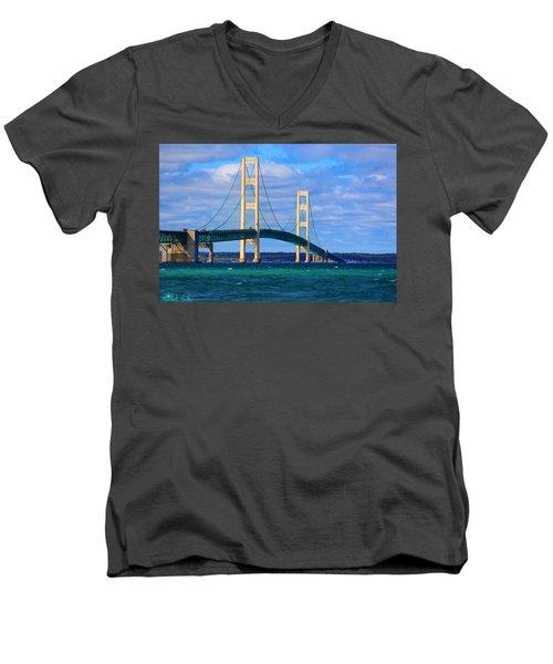 The Mackinac Bridge Men's V-Neck T-Shirt