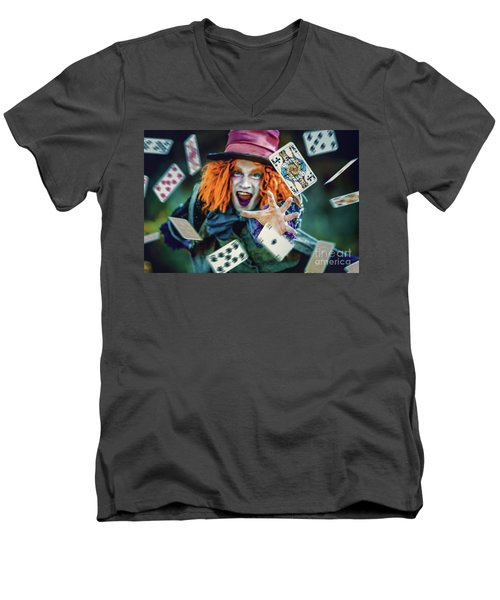 Men's V-Neck T-Shirt featuring the photograph The Mad Hatter Alice In Wonderland by Dimitar Hristov