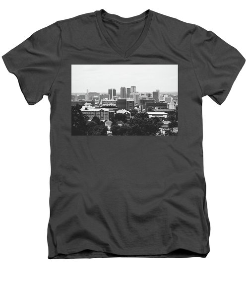 Men's V-Neck T-Shirt featuring the photograph The Magic City In Monochrome by Shelby Young