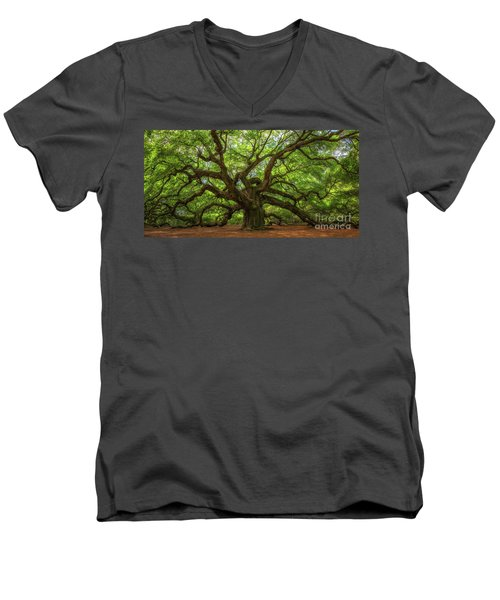 The Magical Angel Oak Tree Panorama  Men's V-Neck T-Shirt by Michael Ver Sprill