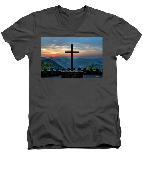 The Magnificent Cross Pretty Place Chapel Greenville Sc Great Smoky Mountains Art Men's V-Neck T-Shirt