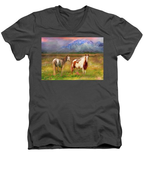 The Majestic Pasture Men's V-Neck T-Shirt by Kari Nanstad