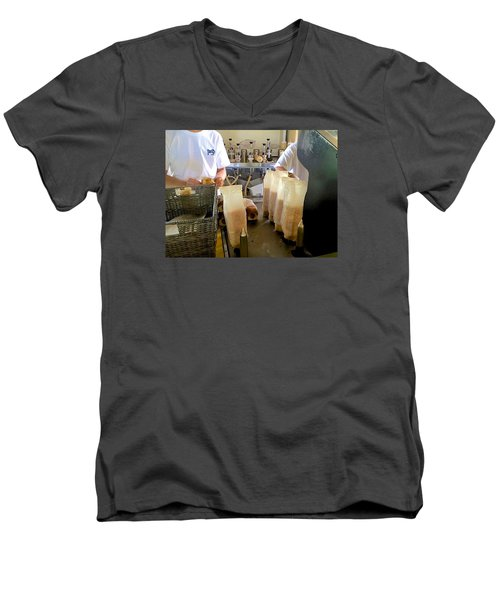 Men's V-Neck T-Shirt featuring the photograph The Making Of A Puka Dog by Brenda Pressnall