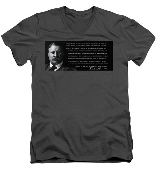 The Man In The Arena - Teddy Roosevelt 1910 Men's V-Neck T-Shirt