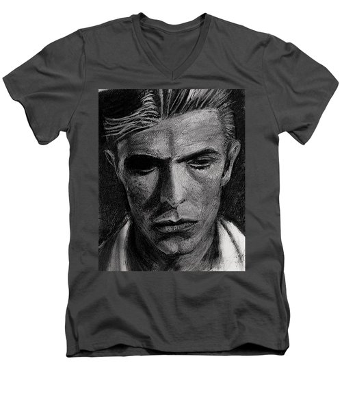 Men's V-Neck T-Shirt featuring the painting The Man Who Fell To Earth 1976 by Jarko Aka Lui Grande