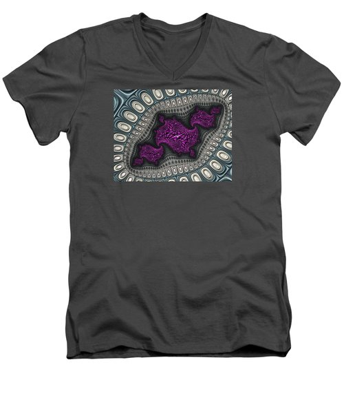 Men's V-Neck T-Shirt featuring the digital art The Map Is Not The Territory Iv by Manny Lorenzo