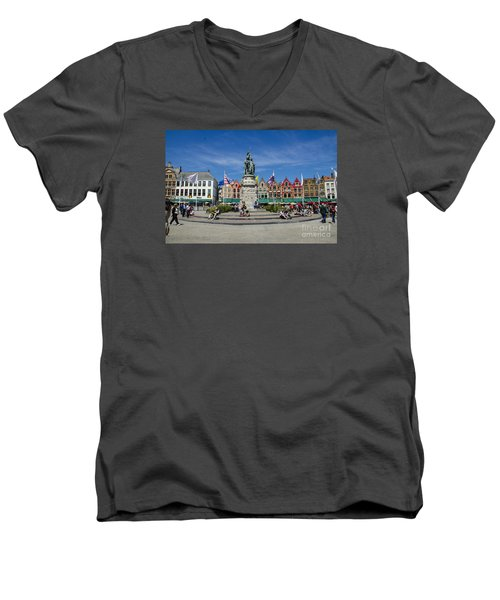 Men's V-Neck T-Shirt featuring the photograph The Markt Of Bruges by Pravine Chester