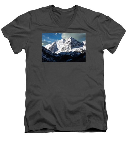 These Twin Peaks Outside Aspen Are Called The Maroon Bells  Men's V-Neck T-Shirt