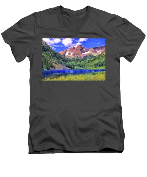 The Maroon Bells Men's V-Neck T-Shirt by Dominic Piperata
