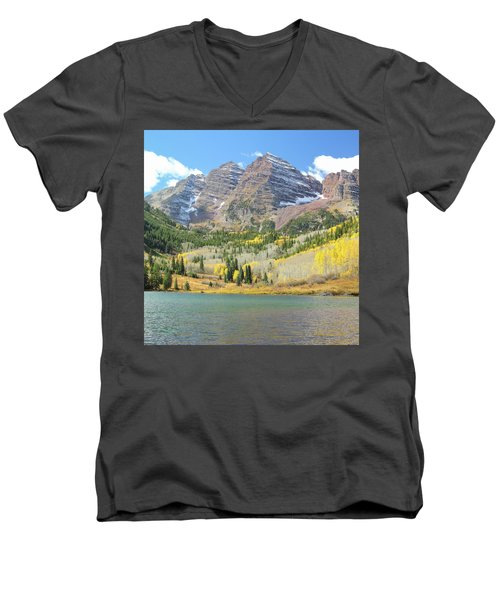 The Maroon Bells 2 Men's V-Neck T-Shirt by Eric Glaser