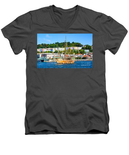 Men's V-Neck T-Shirt featuring the photograph The Matthew In Bristol Harbour by Colin Rayner
