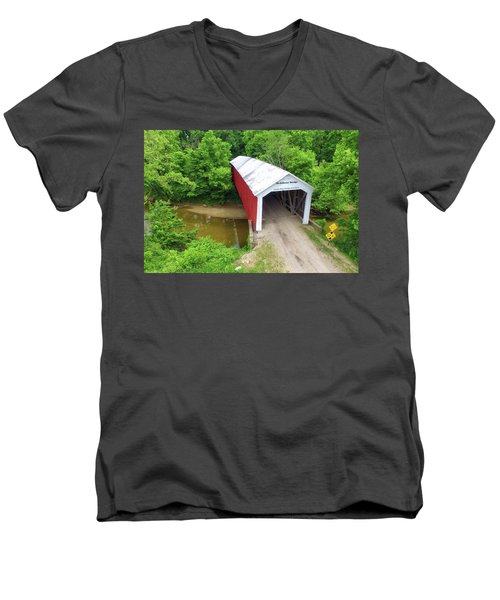 Men's V-Neck T-Shirt featuring the photograph The Mcallister Covered Bridge - Ariel View by Harold Rau