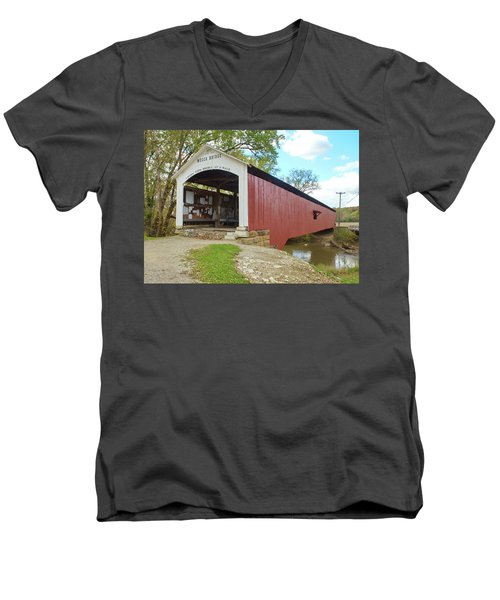 Men's V-Neck T-Shirt featuring the photograph The Mecca Covered Bridge by Harold Rau