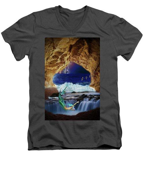 Men's V-Neck T-Shirt featuring the digital art The Mermaids Secret Lair by John Haldane