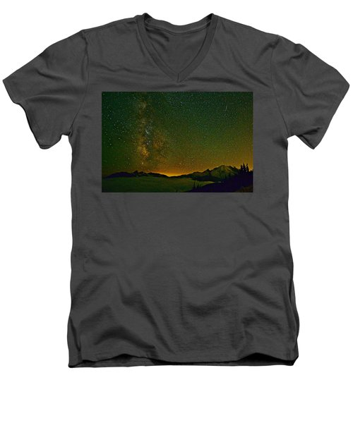 The Milky Way And Mt. Rainier Men's V-Neck T-Shirt
