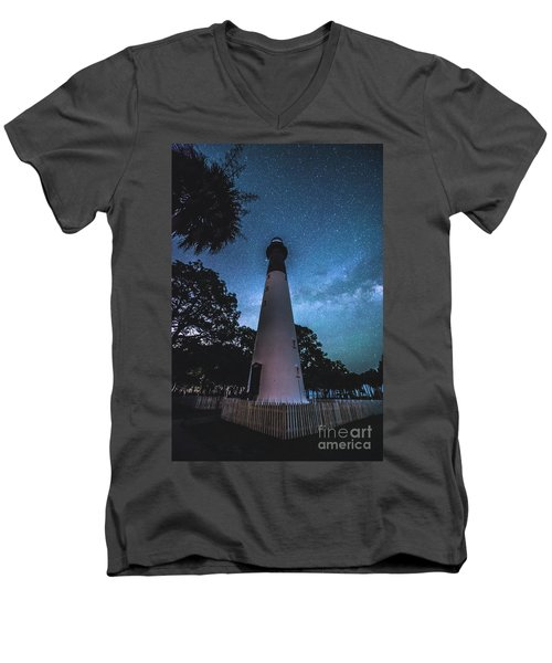 The Milky Way At Saint Helena Light House Men's V-Neck T-Shirt by Robert Loe