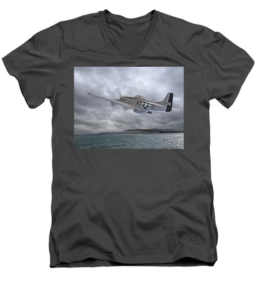 The Mission - P51 Over Dover Men's V-Neck T-Shirt