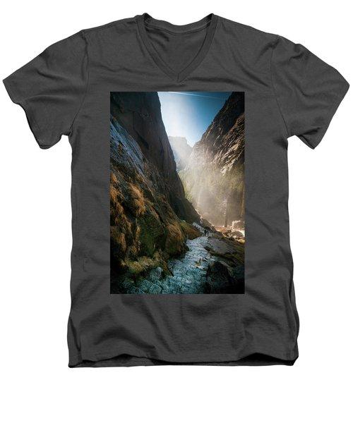 The Mist Trail Men's V-Neck T-Shirt by Ralph Vazquez