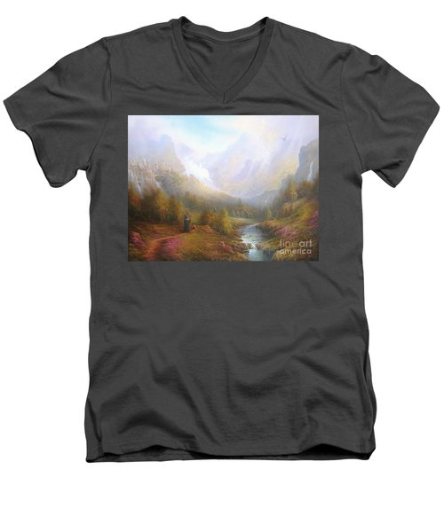 The Misty Mountains Men's V-Neck T-Shirt by Joe  Gilronan
