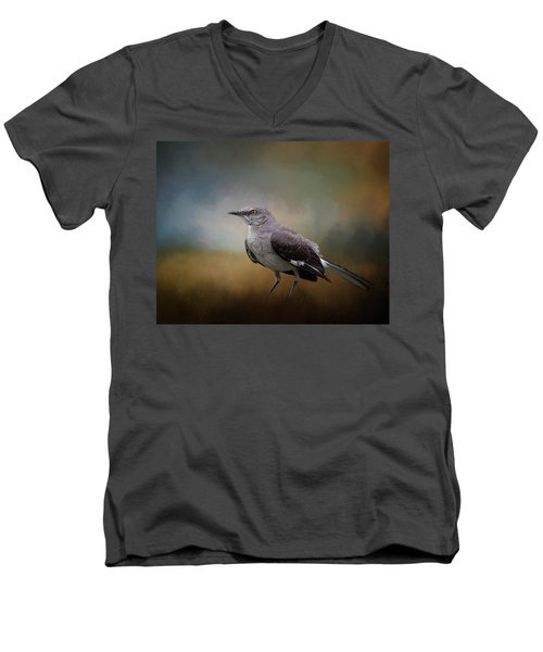 Men's V-Neck T-Shirt featuring the photograph The Mockingbird A Bird Of Many Songs by David and Carol Kelly