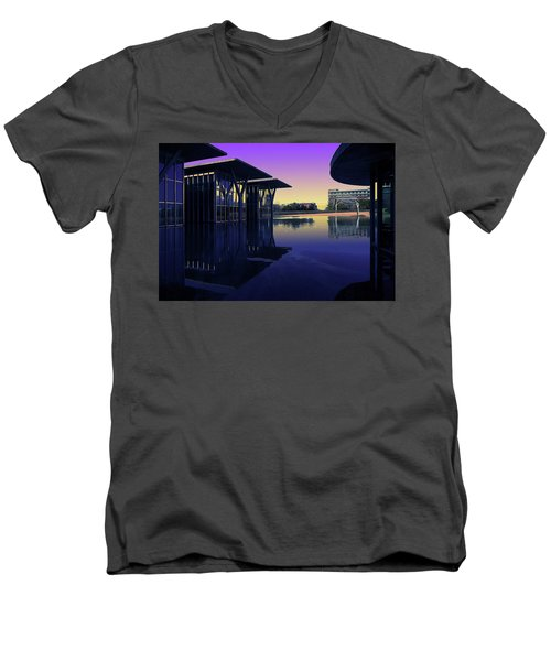 Men's V-Neck T-Shirt featuring the photograph The Modern, Fort Worth, Tx by Ricardo J Ruiz de Porras