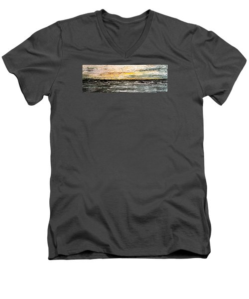 Men's V-Neck T-Shirt featuring the painting The Moment 3 by Shabnam Nassir