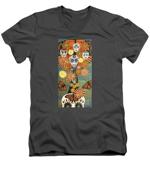 The Monarch's Tree Of Life And The Dead - Day Of The Dead Men's V-Neck T-Shirt