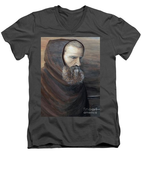 Men's V-Neck T-Shirt featuring the painting The Monk by Judy Kirouac