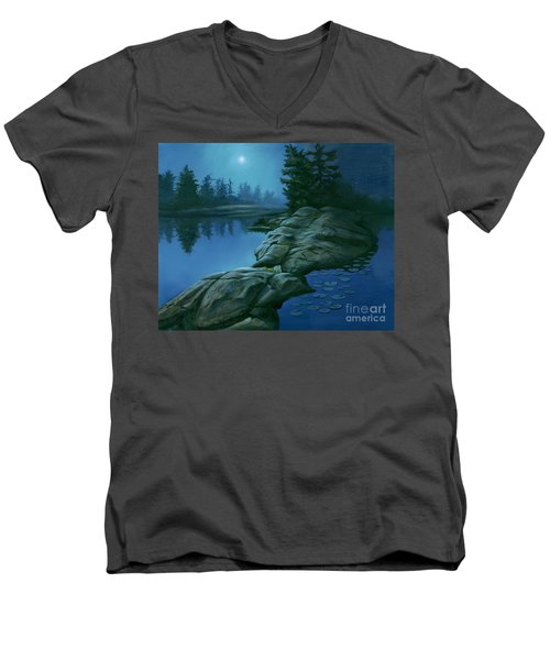 Men's V-Neck T-Shirt featuring the painting The Moonlight Hour by Michael Swanson