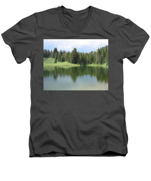 Men's V-Neck T-Shirt featuring the digital art The Morning Calm by Gary Baird