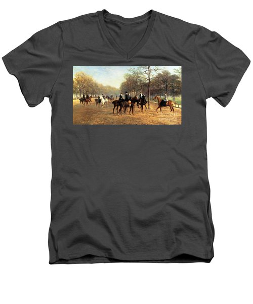 The Morning Ride Rotten Row Hyde Park Men's V-Neck T-Shirt by Heywood Hardy