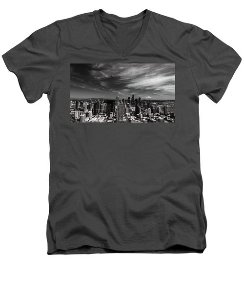 Men's V-Neck T-Shirt featuring the photograph The Mountain Is Out by Stephen Holst