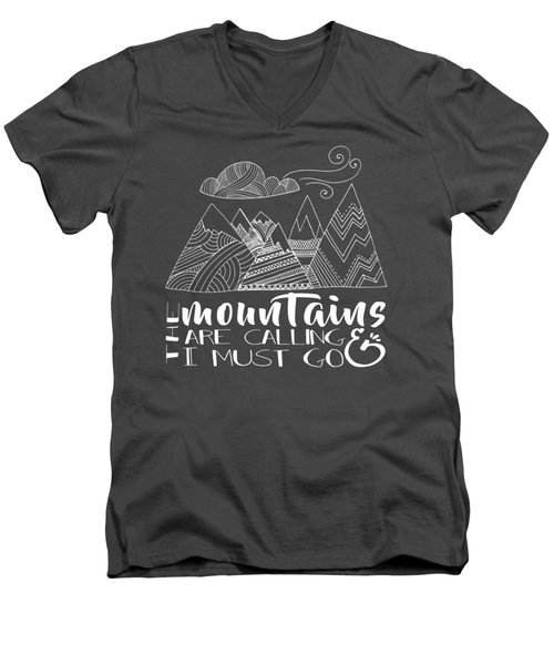 Men's V-Neck T-Shirt featuring the digital art The Mountains Are Calling by Heather Applegate