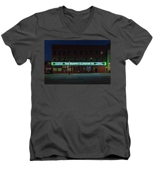 Men's V-Neck T-Shirt featuring the photograph The Murphy Elevator Company by Randy Scherkenbach