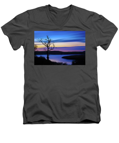 Men's V-Neck T-Shirt featuring the photograph The Naked Tree At Sunrise by Semmick Photo