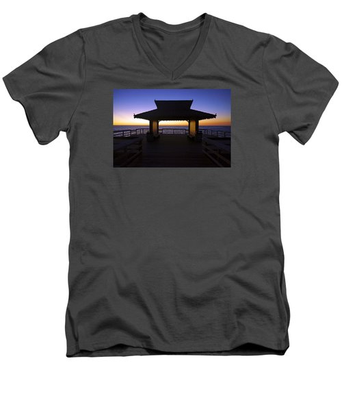 Men's V-Neck T-Shirt featuring the photograph The Naples Pier At Twilight - 02 by Robb Stan