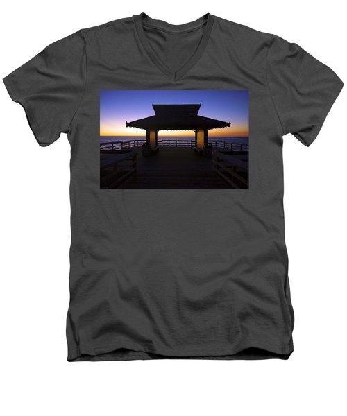 The Naples Pier At Twilight - 02 Men's V-Neck T-Shirt
