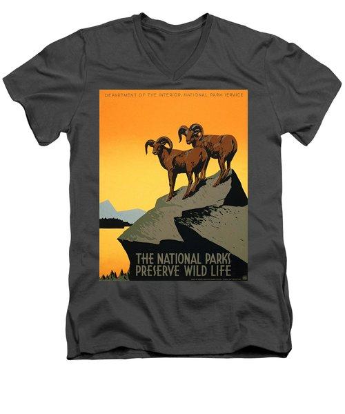 The National Parks Poster Men's V-Neck T-Shirt