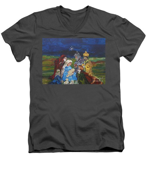 Men's V-Neck T-Shirt featuring the painting The Nativity by Reina Resto