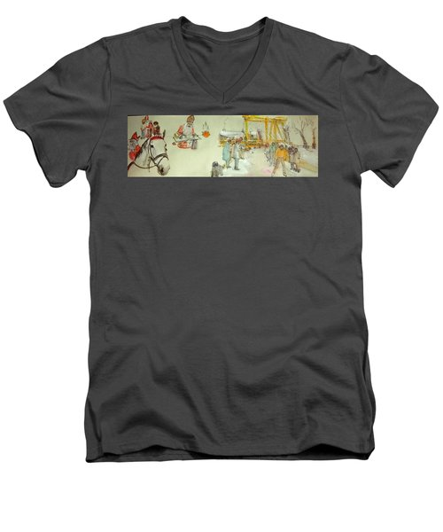 the Netherlands scroll Men's V-Neck T-Shirt by Debbi Saccomanno Chan